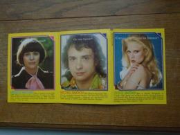 """Lot De Trois Idoles Française , Mireille Mathieu , Michel Sardou , Sylvie Vartan """""""" Avec Les Paroles De Chansons """""""" - Picture Cards"""
