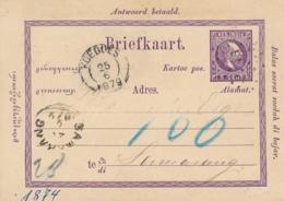 Nederlands Indië - 1879 - 5 Cent Willem III, VraagBriefkaart G2Av Van KR- En Puntstempel KOEDOES Naar Samarang - Nederlands-Indië