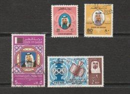 Qatar - 4 Timbres L'Emir Sheikh Khalifa Bin Hamed Al-Thani Année 1979 Mi 753 Mi 757 Année 1981 Mi 803 1965 Mi 65 B (ITU) - Qatar