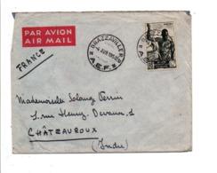 A E F LETTRE DE BRAZZAVILLE POUR LA FRANCE 1950 - A.E.F. (1936-1958)