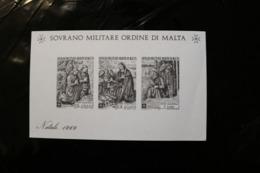 Sovrano Militare Ordine Di Malta Christmas Natale 1969 Imperf Souvenir Sheet Block MNH NO SERIAL NUMBER A04s - Malte (Ordre De)