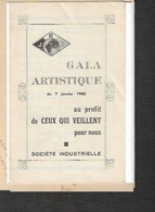 Programme 7 Janvier 1940 Gala Artistique   SOCIETE INDUSTRIELLE  LILLE Jeunesse De L'Empire Français - Posters