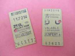 2 Tickets De Métro Anciens/ Métropolitain/2éme Classe / DENFERT ET BILLANCOURT/ Paris /Vers1920               VPN216 - Eisenbahnverkehr
