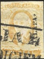 J) 1856 MEXICO, HIDALGO, UN REAL YELLOW, BLACK BOX CANCELLATION, SCOTT 2, WITH DISTRICT NAME XALAPA, MN - Mexico