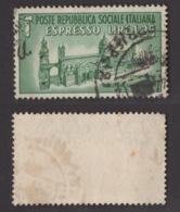 R. SOCIALE !!! 1944 1,25 LIRE ESPRESSO MONUMENTI DISTRUTTI !!! E23 - 4. 1944-45 Repubblica Sociale