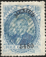 J) 1897 MEXICO, JUAREZ, 10 CENTS, SCOTT 126 WITH OVERPRINT IN BLACK, MEXICO DISTRICT NAME, BLUE MUTE CANCELLATION, MN - Mexico