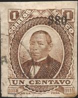 J) 1880 MEXICO, JUAREZ, UN CENT BROWN, IMPERFORATED, MN - Mexico