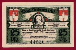 Allemagne 1 Notgeld De 25 Pfenning Stadt Driburg  (RARE)  Dans  état N °4714 - [ 3] 1918-1933 : République De Weimar