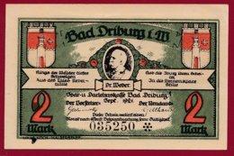Allemagne 1 Notgeld De 2 Mark Stadt Driburg  (RARE)  Dans  état N °4716 - Collections