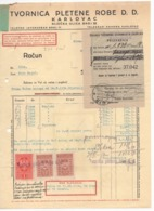 1934 YUGOSLAVIA, CROATIA, KARLOVAC, TEXTILE FACTORY, INVOICE, 3 REVENUE STAMPS SAVSKE BANOVINE - Invoices & Commercial Documents