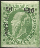 J) 1866 MEXICO, EMPEROR MAXIMILIAN, IMPERFORATED, SCOTT 34, WITH DISTRICT NAME MORELIA, MN - Mexico