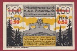 Allemagne 1 Notgeld De 1.60 Mark Surchargé  50 Pfenning Stadt Brauschweig    (RARE) Dans L 'état N °4730 - Collections