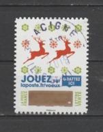 """FRANCE / 2018 / Y&T N° AA 1644 ? : """"Voeux à Gratter"""" (2 Rennes Rouges Sur Fond Blanc) - Choisi - Cachet Rond - Francia"""