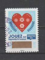 """FRANCE / 2018 / Y&T N° AA 1643 ? : """"Voeux à Gratter"""" (Cœur Rouge Sur Fond Bleu) - Choisi - Cachet Rond - Francia"""