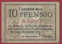 Allemagne 1 Notgeld De 10 Pfenning Stadt St Goar (RARE) Dans L 'état N °4733 - Collections