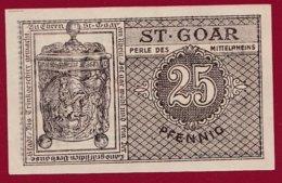 Allemagne 1 Notgeld De 25 Pfenning Stadt St Goar (RARE) Dans L 'état N °4734 - Collections