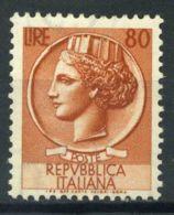 République Italie 1953 Sass. 718 Neuf ** 100% 80 L. Italie Turrita - 1946-.. République