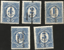 J) 1914 MEXICO, COMPLEMENTARY STAMPS, CONSTITUTIONAL GOVERNMENT, SCOTT 434-438, MN - Mexico
