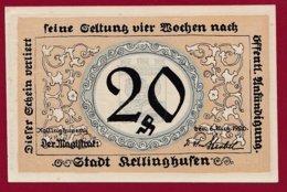 Allemagne 1 Notgeld De 20 Pfenning Stadt Kellinghausen  (RARE) Dans L 'état N °4735 - Collections