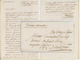 Franchise Bourglibre Douane National An 2 Pour Le Cdt. Armée Du Haut-Rhin, Blotzheim, Delémont, ..... - Marcophilie (Lettres)