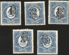 J) 1915 MEXICO, COMPLEMENTARY STAMPS, SCOTT 466-470, BLACK GOMIGRAPHO, MN - Mexico