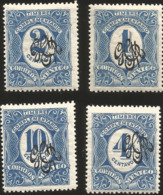 J) 1908 MEXICO, COMPLEMENTARY STAMPS, SCOTT 495-497 AND 499, BLACK GOMIGRAPHO, MN - Mexico