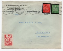 1935 YUGOSLAVIA, CROATIA, ZAGREB TO BELGRADE, S. TREBITSCH I SIN K.D., FLAM - Covers & Documents