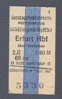BRD - Pappfahrkarte (Reichsbahn) : Göllingen - Erfurt - Bahn