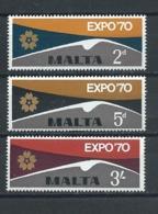 Malta 1970 Expo World Fair Osaka 3 V Stamps - 1970 – Osaka (Japan)