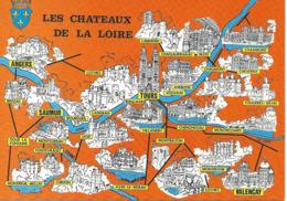LOT DE 3 CARTES GEOGRAPHIQUES. Loir Et Cher, Loiret, Les Châteaux De La Loire - Cartes Géographiques