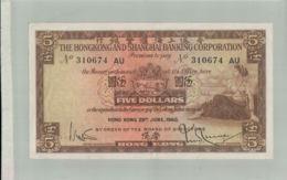 BILLET DE BANQUE THE HONGKONG & SHANGHAI BANKING CORPORATION  5 Dollars 1st APRIL 1941 -sept  2019  Alb Bil - Hong Kong