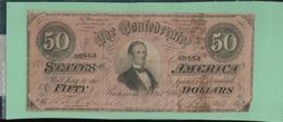 BILLET BANQUE  ATAT-UNIS 50 Dollars 1864 The Confederate States Of America 1864-02-17  -sept  2019  Alb Bil - Valuta Della Confederazione (1861-1864)