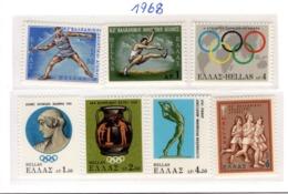 SPORT - OLYMPIC GAMES - 1968 -  GRECIA - Mi. Nr.  966/972 - NH - (6532-39) - Grecia