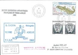 TAAF - Dumont D'Urville-T.Adélie: Lettre Avec Timbres N°163 Armoiries Et N°166 Légine Australe - 02/01/1992 - Lettres & Documents