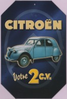 Repro D'Affiches Publicitaires Vintage Sur Métal Émaillé (Effet Bombé) - Citroën ... Votre 2CV - Reclameplaten