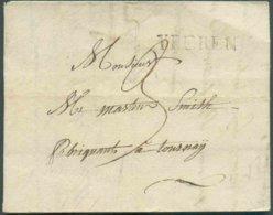 (griffe Noire) YPEREN Du 12 Mars 1824 Vers Tournay + Manuscrit (port) «3». - 14595 - 1815-1830 (Dutch Period)