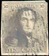 N°1 - Epaulette 10 Centimes Brune, Touché Au Coin Supérieur Droit Sinon Bien Margée, Obl. D.18 GHISTELLES Faiblement App - 1849 Epaulettes