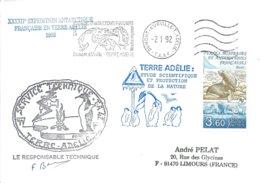 TAAF - Dumont D'Urville-T.Adélie: Lettre Avec Timbre N°159 Otarie à Fourrure + OMEC SATAS Du 02/01/1992 - Storia Postale