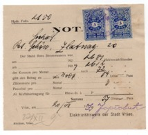1924 YUGOSLAVIA, SERBIA, VRSAC, EVANGELICAL CHURCH, ELECTRICITY BILL PRINTED IN GERMAN, 2 REVENUE STAMPS, - Historical Documents