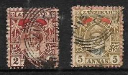 Zanzibar, 1899, 2 Annas, 5 Annas, Used - Zanzibar (...-1963)