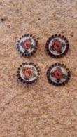 Quatre Boutons émaillés Motif Floral - Buttons