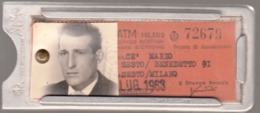 ATM MILANO 19463 CON BIGLIETTO ABBONAMENTO E CUSTODIA IN METALLO - Wochen- U. Monatsausweise