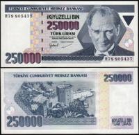 TURKEY - 250.000 Lira L.1970 {Türkiye Cumhuriyet Merkez Bankası} UNC P.211 - Turchia