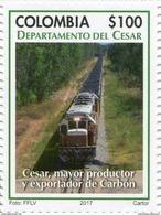 Lote 2017-5.7, Colombia, 2017, Sello, Stamp, Depto Del Cesar, Train, Coal, Tren, Carbon - Colombia