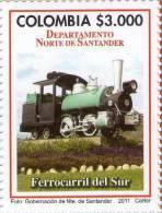 Lote 19h1, Colombia, 2011,  Departamento De Norte De Santander, Ferrocarril Del Sur,  Train Stamp - Colombia