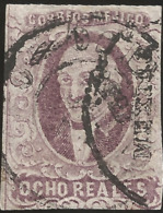 J) 1856 MEXICO, HIDALGO, 8 REALES PURPLE, WITH DISTRICT NAME, MULTIPLE CANCELLATION, PLATE II, MN - Mexico