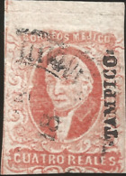 J) 1856 MEXICO, HIDALGO, 4 REALES RED, WITH DISTRICT NAME TAMPICO, MN - Mexico
