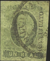 J) 1861 MEXICO, HIDALGO UN REAL, WITH DISTRICT NAME GUANAJUATO, CIRCULAR CANCELLATION, MN - Mexico