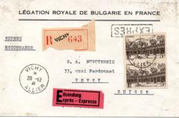 Belle Enveloppe De La Légation Royale De Bulgarie En France Du 20 Déc 1941 Au Départ De Vichy - Storia Postale