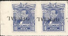 J) 1915 MEXICO, JUAREZ, 10 CENTS BLUE, PAIR, INVERTED OVERPRINT OFICIAL, MN - Mexico